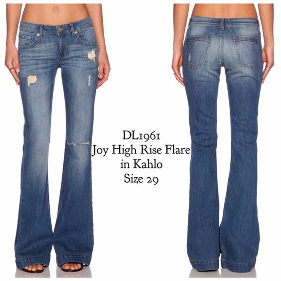 "DL1961Joy High Rise Flare in Kahlo Wash Insanely soft, BNWT timeless flares. Artfully shredded and hand sanded to perfection, these high-rise jeans are designed to fit slim through the hips and thighs before releasing into a dramatic flare below the knees. Measures appx 34 1/2"" inseam; 22"" leg opening; 8"" front rise; 13"" back rise Zip fly with button closure. Five-pocket style. 98% cotton, 2% polyester. Machine wash cold, dry flat. Open to reasonable offers. DL1961 Jeans Flare & Wide Leg"