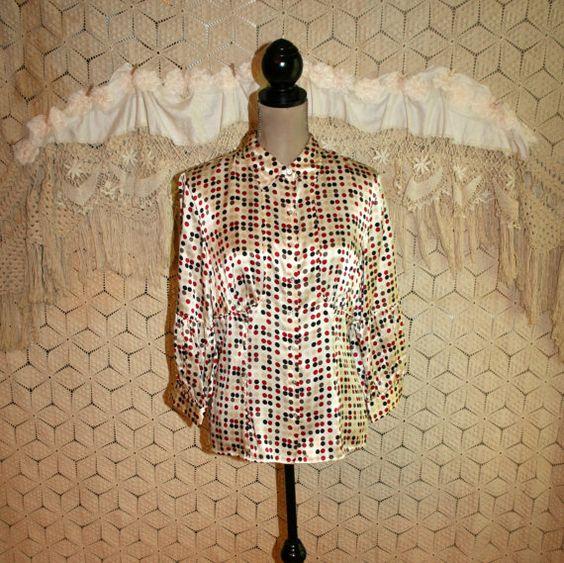 Polka Dot Blouse 3/4 Sleeve Silk Blouse Boho Tops by MagpieandOtis