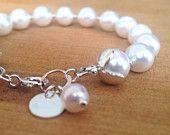White Pearl Bracelet - Sterling Silver Jewellery - Wedding Jewelry - Bride