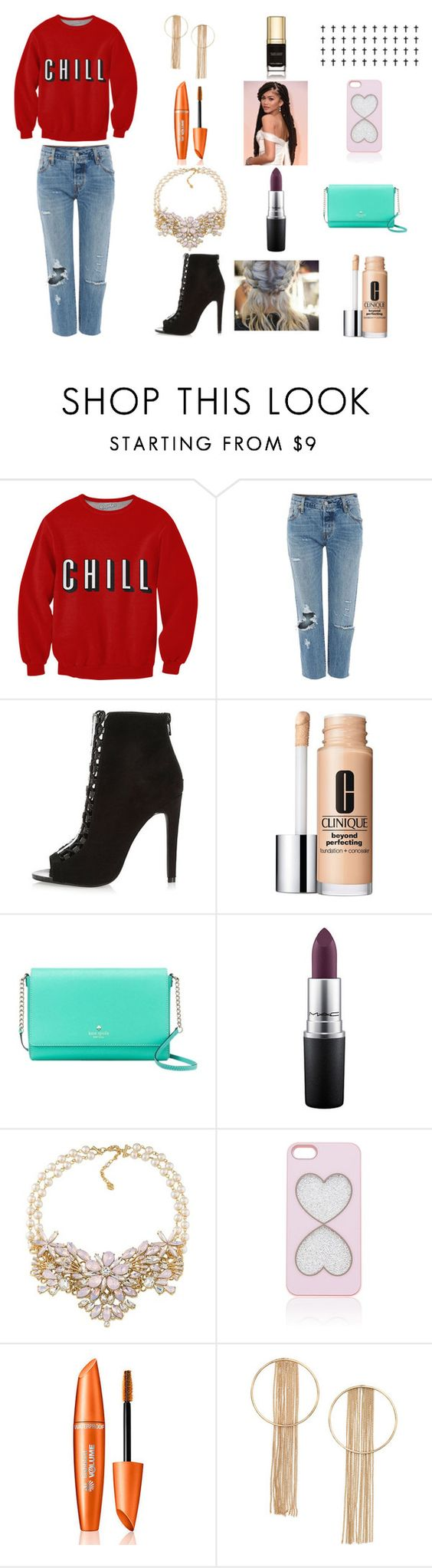 """""""//crybaby//"""" by reythefrog ❤ liked on Polyvore featuring Levi's, River Island, Clinique, Kate Spade, Carolee, Forever New and Dolce&Gabbana"""