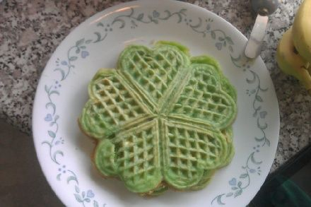 St. Patty's Day green clover waffles!