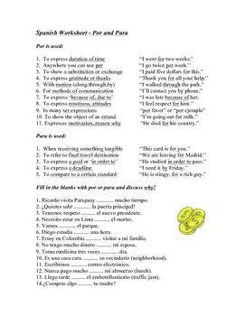 This worksheet includes explanations of the various uses of por ...
