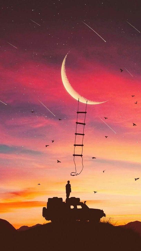 月にはしごをかけるおしゃれでかっこいいスマホ壁紙