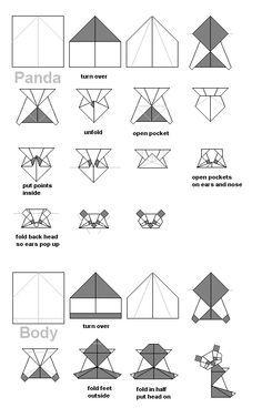origami panda diy tutorial pinterest origami and