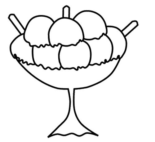 Bowl Of Ice Cream In A Cup Coloring Page
