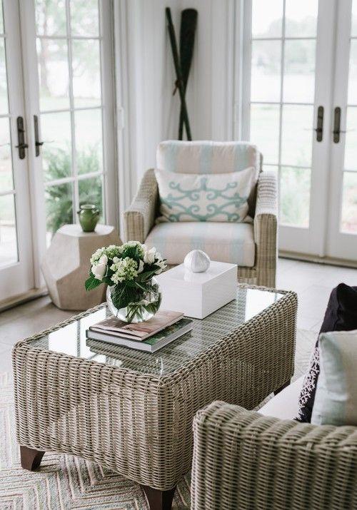 Coastal Sun Room Ideas With Wicker Rattan Rattan Furniture Living Room Furniture Coastal Living Rooms