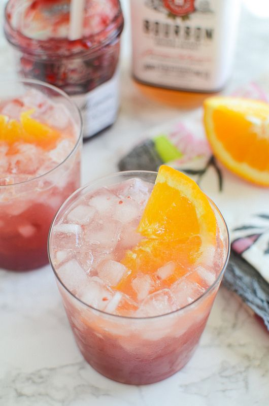 ... for spring or summer! Raspberry, fresh orange juice, and bourbon