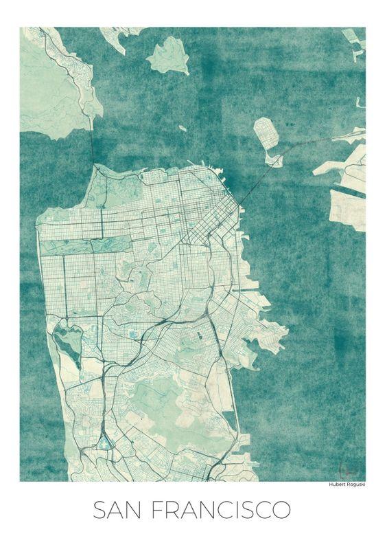 San Francisco Map Blue Vintage  Art Print