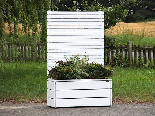 Pflanzkasten Holz mit Sichtschutz - Element, Länge: 112 cm, Farbe: Weiß Deckend