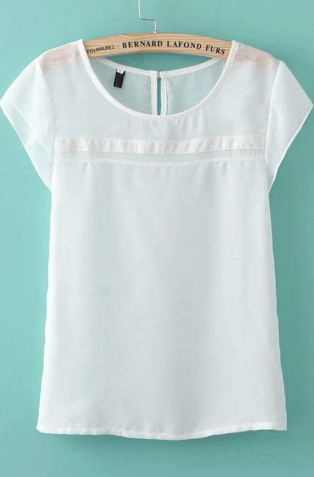 White Short Sleeve Chiffon Loose Blouse -SheIn(Sheinside) | Sleeve ...