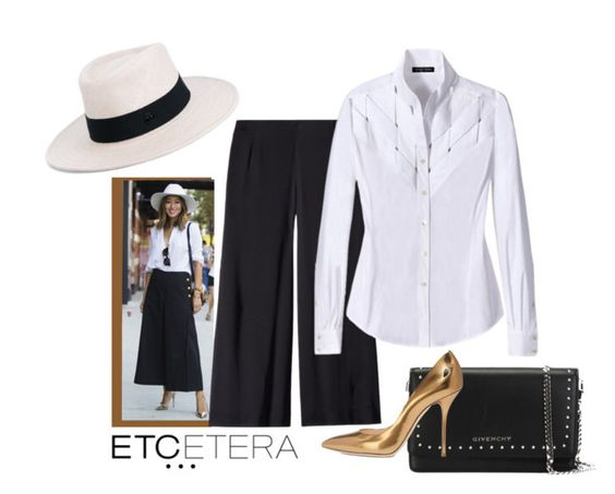 """""""Etcetera: SEASALT amazing white blouse with PITCH black culottes."""" by etcetera-nyc ❤ liked on Polyvore featuring Etcetera, Seasalt, Maison Michel, Givenchy, Casadei, WorkWear, etceteracollection, etceteranyc and summer2016"""