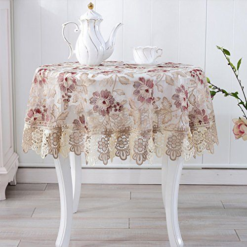 Lace Tablecloth Fabric Round Small Table Cloth Organdy Table Cloth Tablecloth Bedside Tables Covered With Towel Continenta Table Style Table Cloth Table Linens