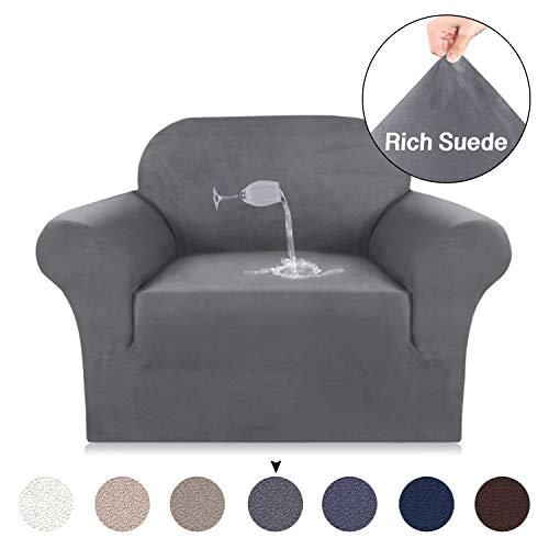 Turquoise Stretch Chair Slipcovers 1 Piece Velvet Plush Sofa Cover For Chair Water Repellent Stretch Luxury Furniture Cover Strapless Stay In Place Washable Sofa Cover Chair Gray Luxury Armchair Slipcovers For Chairs