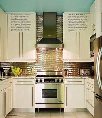 Example of tile up to the ceiling past the range hood.