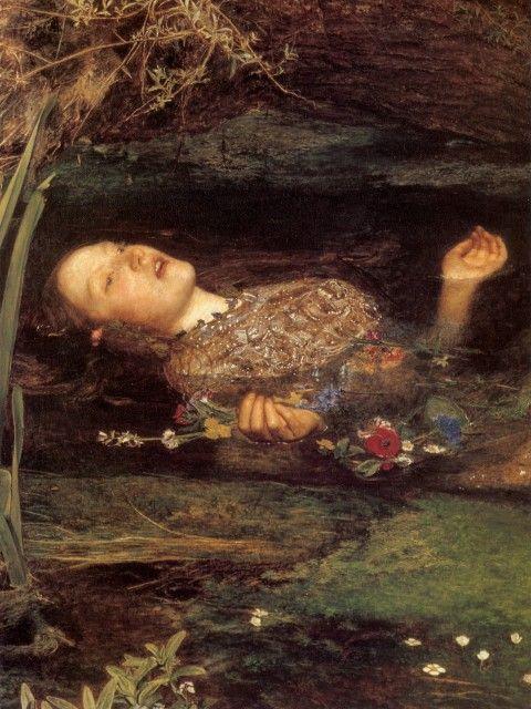 John Everett Millais - Ophelia (close up detail)