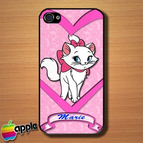 Pink Love Marie The Cat Custom iPhone 4 or 4S Case Cover