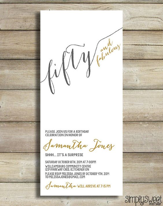 Fifty and fabulous birthday invitation any age 50 fabulous 30 40 birthday invitation any age 50 fabulous 30 40 60 70 80 fifty forty thirty gold filmwisefo