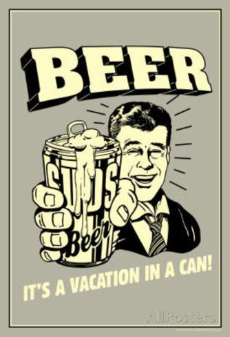 Beer Vacation In A Can Funny Retro Poster Masterprint at AllPosters.com: