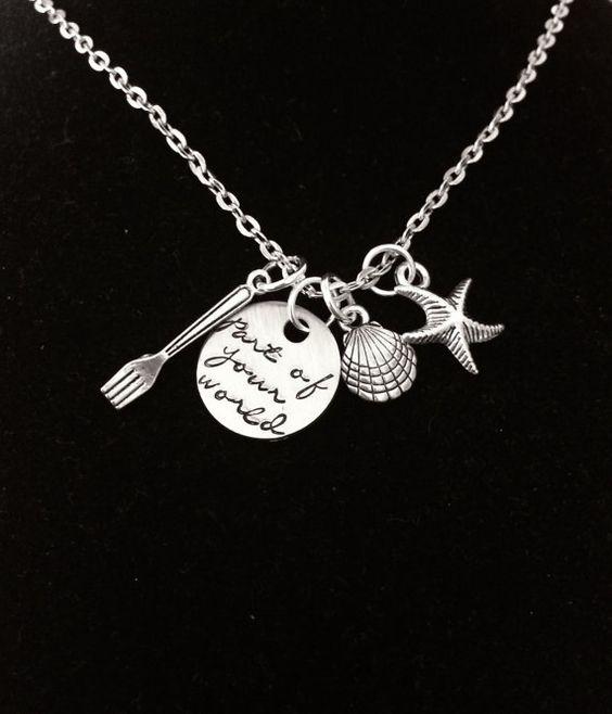 Part of Your World Charm Necklace Script Font