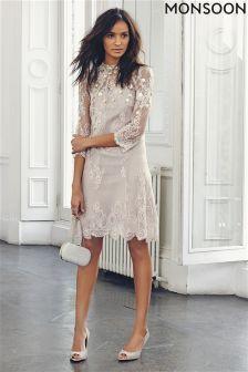 Monsoon Jasmine Gold/Nude Long Sleeve Embellished Dress