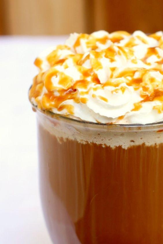 Homemade Salted Caramel Mocha.  Espresso or strong coffee, caramel sauce (sugar, butter, heavy cream), cocoa powder, sea salt, milk).