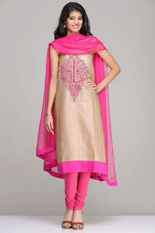 Tussar Silk Unstitched Suits | Beige Unstitched Tussar Silk Suit ...