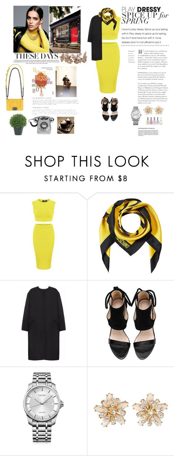 """""""I love yellow"""" by mis-goga ❤ liked on Polyvore featuring Chanel, Moschino, Non, Calvin Klein and Sally Hansen"""