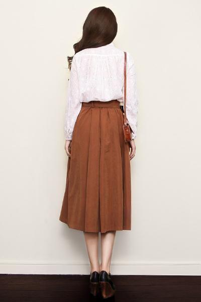 Retro High Waist Midi Skirt