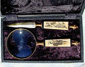 A magnifying glass and letter opener decorated with the image of the World's Greatest Detective: