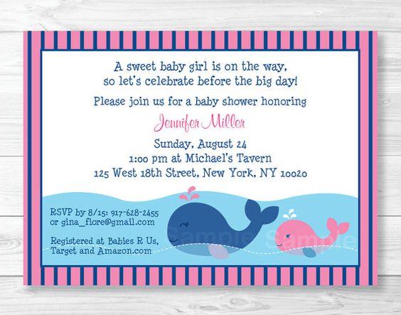 Linda ballena rosa bebé ducha invitación / por LittlePrintsParties