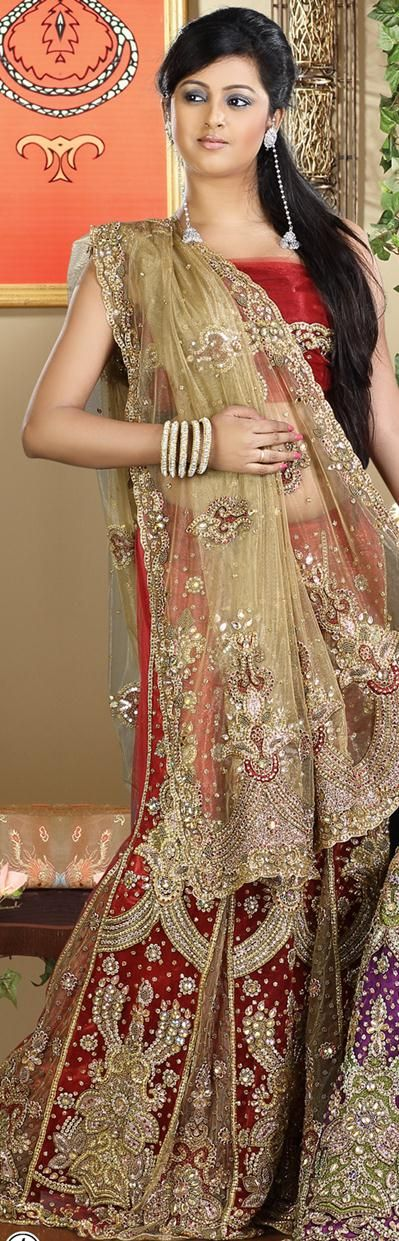 $268.51 Cream and Red Indian Bridal Wear Saree 23786