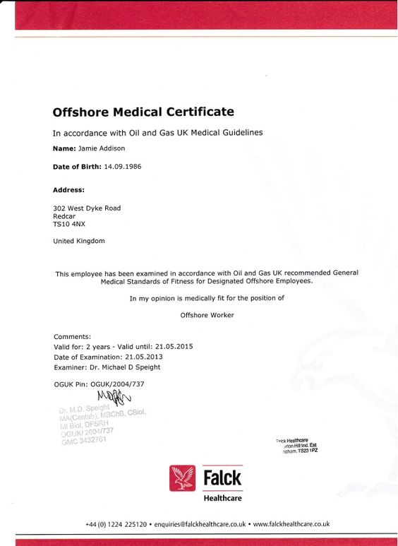 Image result for CERTIFICATE OF MEDICAL FITNESS OFFSHORE RIG 45 - medical fitness certificate