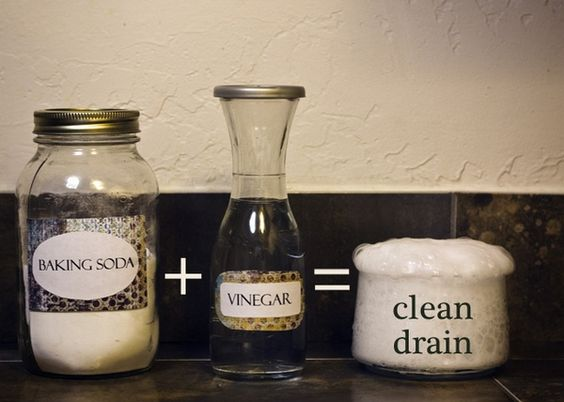 Pour 1/2 cup baking soda and then 1/2 cup of vinegar.  Cover up the drain during the crazy chemical reaction.  Wait 15 mins and pour a pot of boiling water.  It totally clears up the clogged drain caused by my long hair and its easier on the pipes than Drano. Works every time!! home-decor