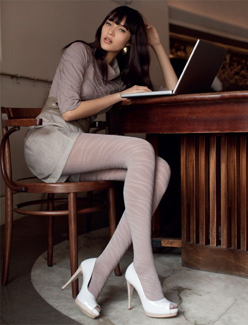Grey Pantyhose Long Legs 115