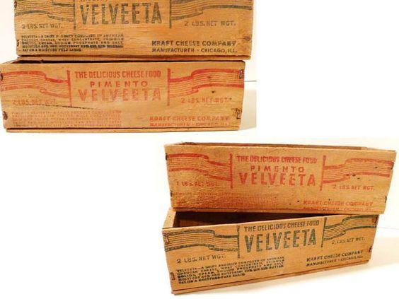 Vintage Wooden Velveeta Cheese Box by ClearlyRustic on Etsy, $35.00