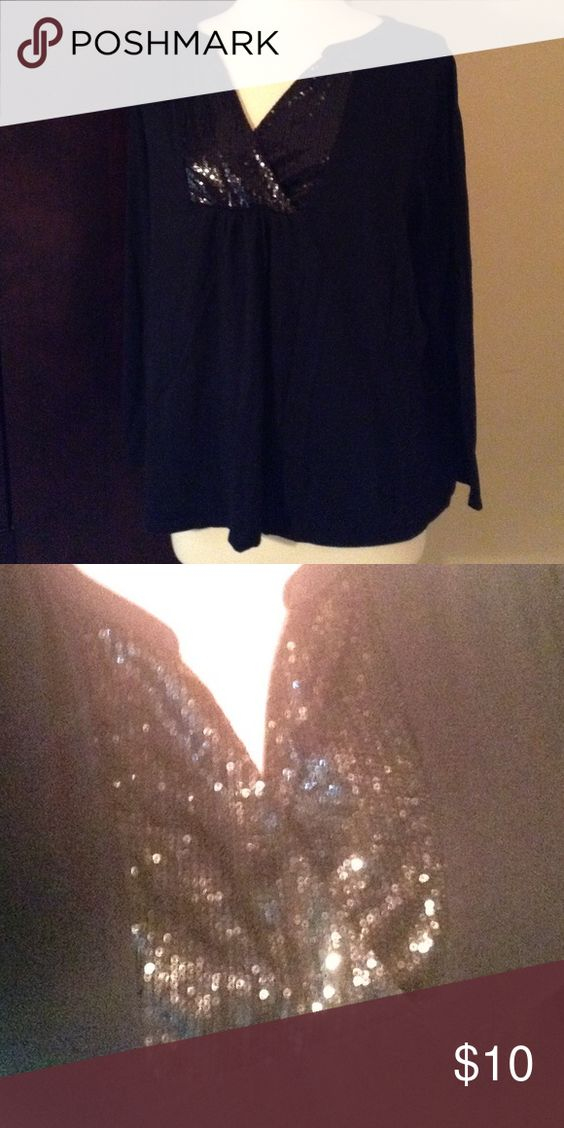 Lane Bryant Sparkle Top Perfect condition. Beautiful sparkled top as shown. No sequins missing. Long sleeved. Would fit an XL.  If you have any questions please feel free to ask! I wash all of my items before shipping them. Happy Poshing Lane Bryant Tops Tees - Long Sleeve