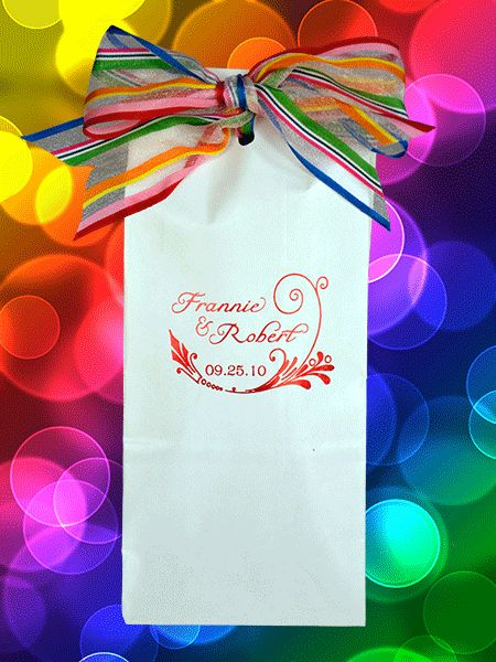 This primary stripe organza ribbon has a lot of body and makes a beautiful bow. Used on our candy favor bags with our exclusive name format printed in red satin foil really pops. The bag is lined and seals to preserve freshness. Bag comes in glossy white or natural kraft and is $99.95 for 100 printed. (Ribbon sold separately. Click www.favorsyoukeep.com or call 512.323.0600. Follow on www.facebook.com/favorsyoukeep