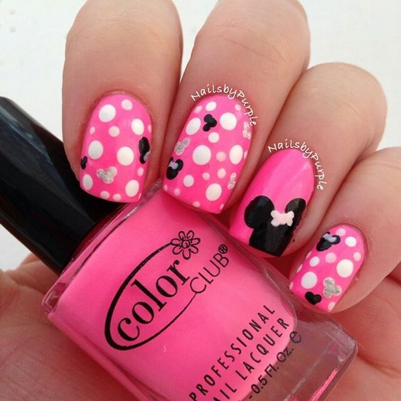 Hot Pink Minnie Mouse Nails