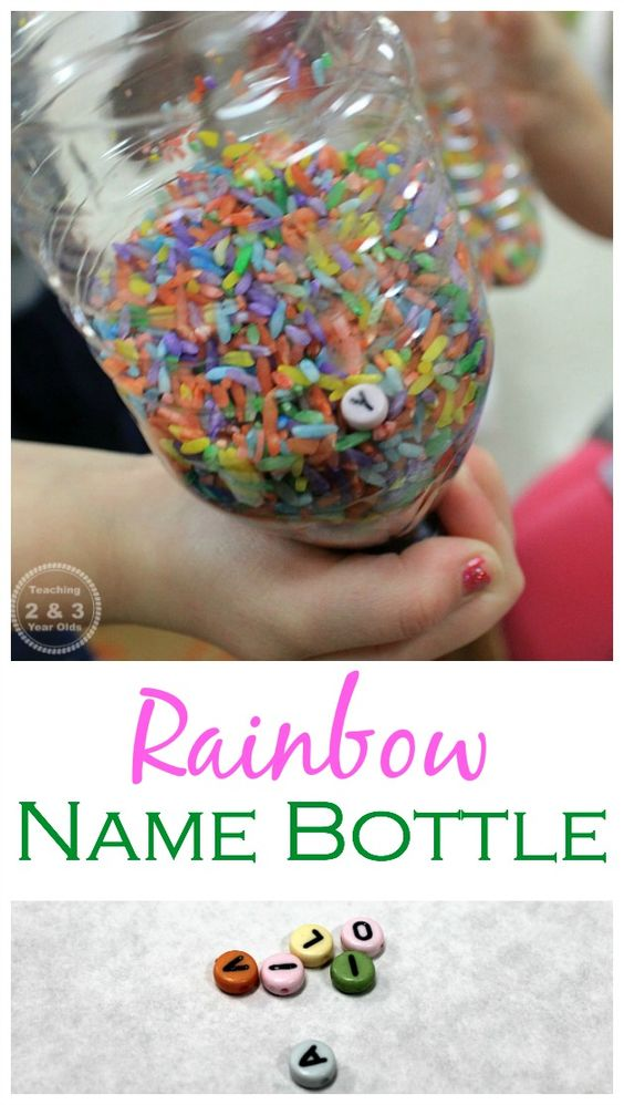 Letter Beads Discovery Bottles - a Name Recognition Activity for PReschoolers from Teaching 2 and 3 Year Olds