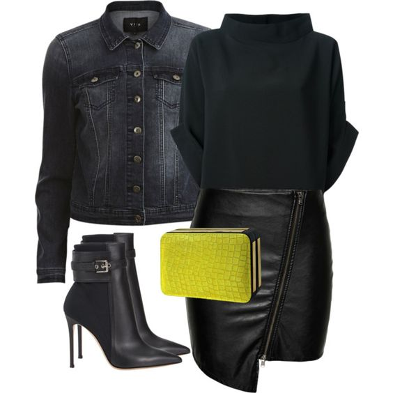 Black&neon by perlarara on Polyvore featuring Maria Grachvogel, VILA, ONLY, Gianvito Rossi, Poupée Couture, black, neon, Leather and Sexy
