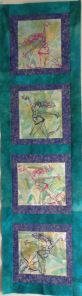 Incorporating Gelli Printing into Quilts. This second one is long and skinny. I see it as a great growth chart or to decorate a narrow and long space. Not that it will be either of those things, but it will be lovely as a simple demonstration for the Show stand or the Pop Up Classes.