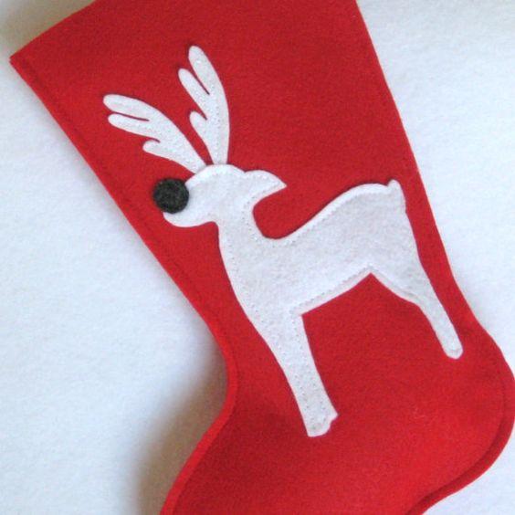 Reindeer Christmas Stocking  Eco Friendly Felt by stitcholicious, $17.00