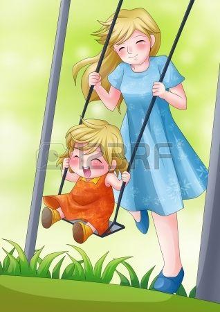 Illustration de bande dessin e d une m re jouer dans le parc avec son enfant Banque d'images