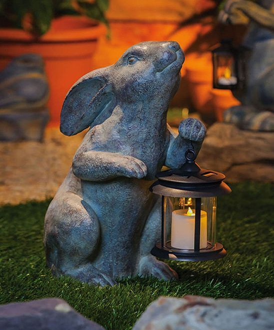 GARDEN SOLAR LIGHT RABBIT FAMILY ORNAMENTS WITH LANTERN PATIO LIGHT STATUES NEW