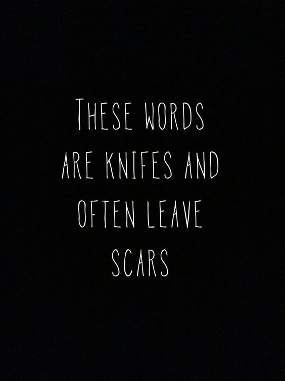 These words are knives  That often leave scars The fear of falling apart  Truth be told i never was yours  The fear, the fear of falling apart