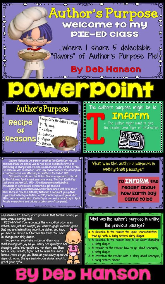 Author's Purpose PowerPoint containing 49 slides! This includes the more advanced version of teaching Author's Purpose... the PIE'ED version with test prep! (persuade, inform, entertain, explain, and describe) This PowerPoint includes 10 passages and 5 multiple choice passages.