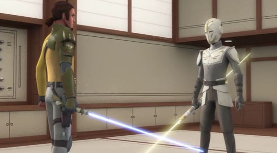 "The Temple Guard referring to Kanan's apprentice. GUARD: ""The Dark Side, it pulls at him, it calls to him. Eventually he will be consumed by it."""