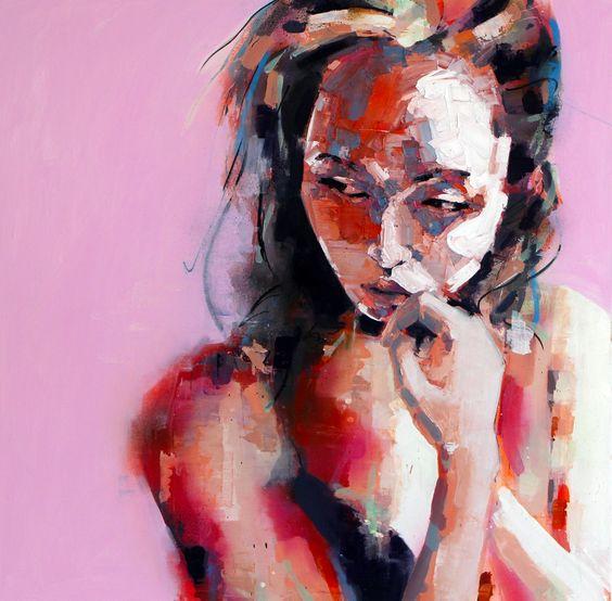 1-7-15 pensive, oil on canvas, 90x90cm