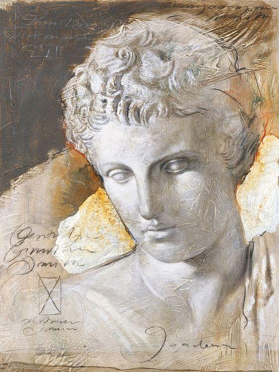 JOADOOR »Mythologie II« (Druck mit Silberfolie) - fantastische malerische Nachbildung einer antiken Skulptur.  Das Bild besteht aus einem hochwertigen Kunstdruck auf MDF, der auf einem Deko-Paneel montiert ist, wodurch eine frei schwebende Optik erzielt wird.  Artikeldetails:  Bild mit »Schwebeeffekt«, durch Abstandsleisten auf der Rückseite, Druck auf MDF Platte aufkaschiert, Maße (B/H): 60/80...