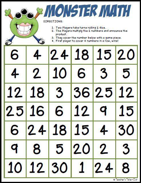 4th grade math games printable free